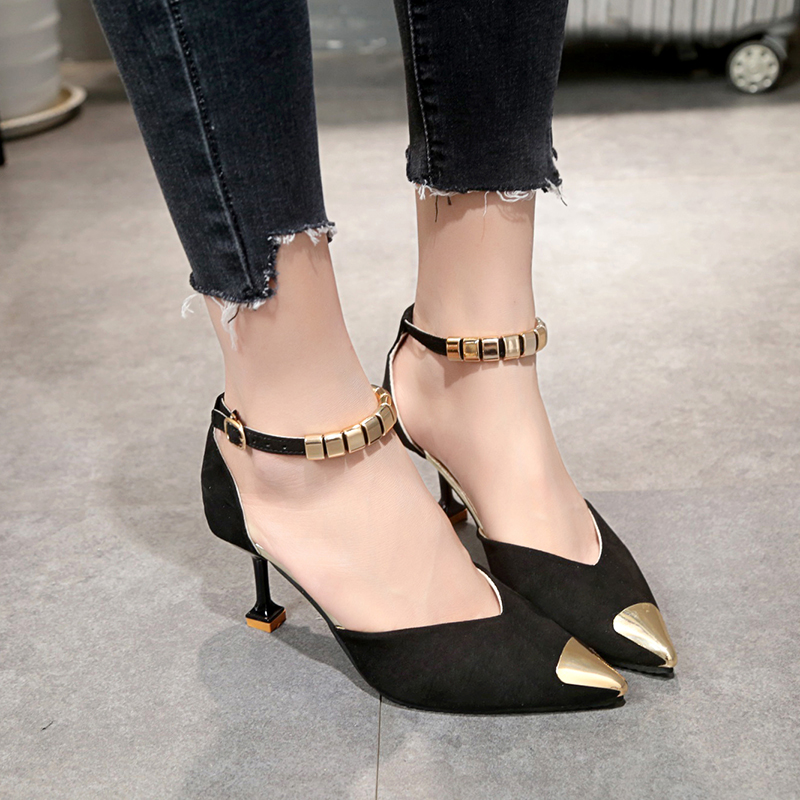 Lucyever 2019 Summer Fashion Women Pumps Sexy Thin High Heel Pointed Toe Ladies Pumps Metal Buckle Strap Shoes Woman Stiletto