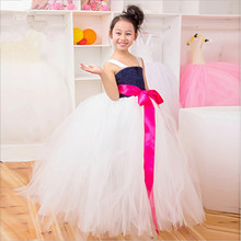 19 Colors 1 8Y Ribbon Bow Girl Tulle Tutu Dress Kids Birthday Pageant Party Festival Wedding
