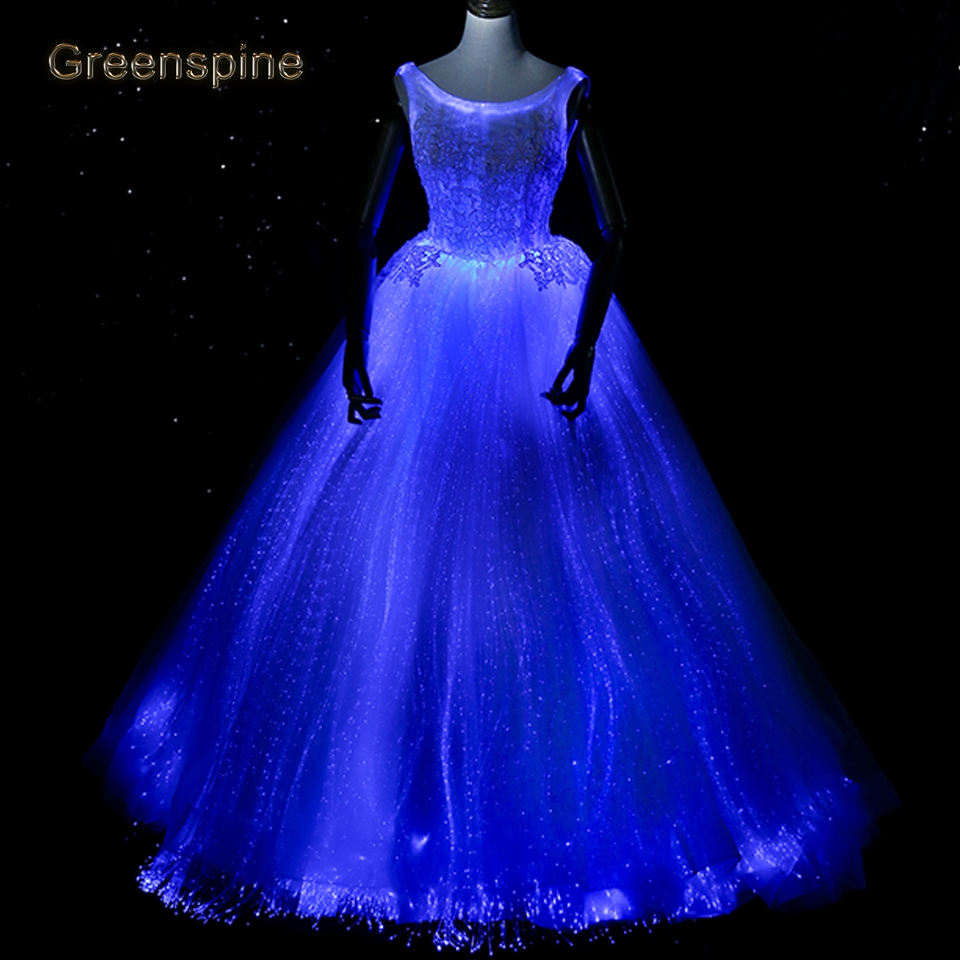 Wedding Gown Fashion Show: Luminous Wedding Dress Variable Color For Model Fashion