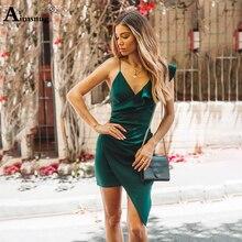 купить Sexy Solid Green Female The Dress Ruffle Splice Irregular Deep V Neck Spaghetti Strap Knee-Length 2019 New Summer Women Dress по цене 765.29 рублей