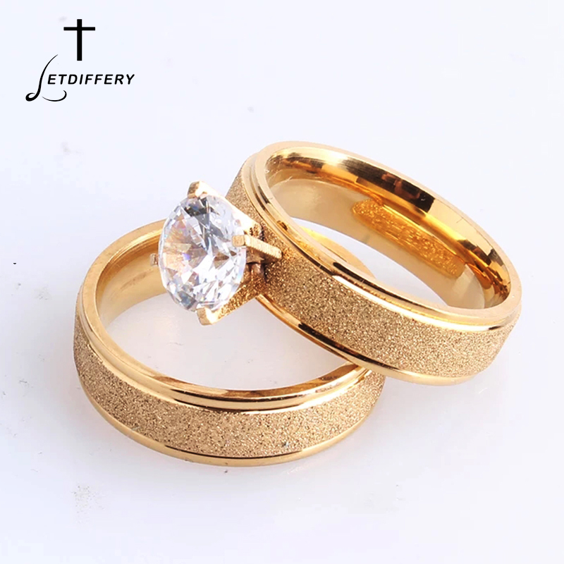 Letdiffery Bling Cubic Zircon Matte Wedding Rings for Couple Gold Titanium Stainless Steel Romantic Anniversary Women Jewelry