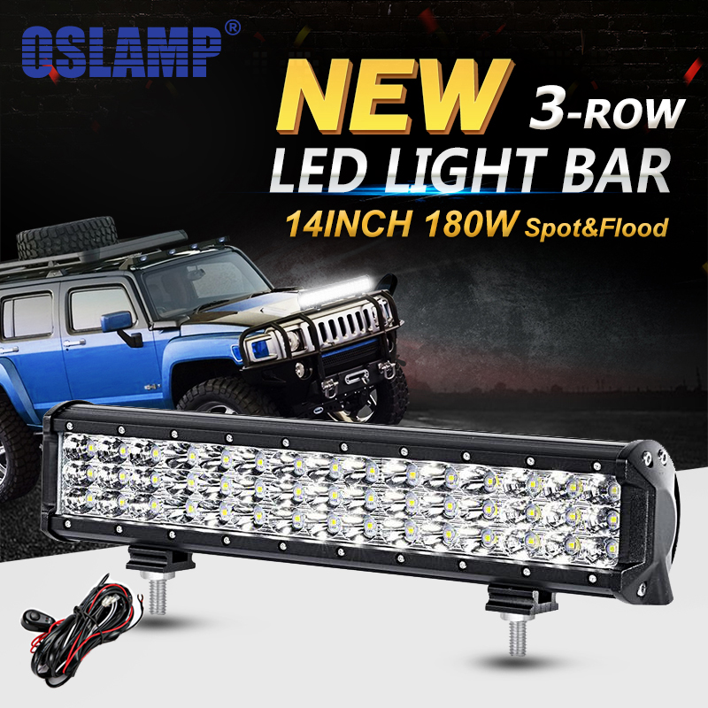Oslamp 14inch 180W 3-Row LED Work Light Bar Offroad Led Bar Driving Light Combo Beam 12v 24v for Truck SUV ATV 4x4 Led Work Lamp oslamp 5d 32 led light bar 300w cree chips offroad led work light bar combo beam 12v 24v truck suv atv 4x4 4wd led driving lamp