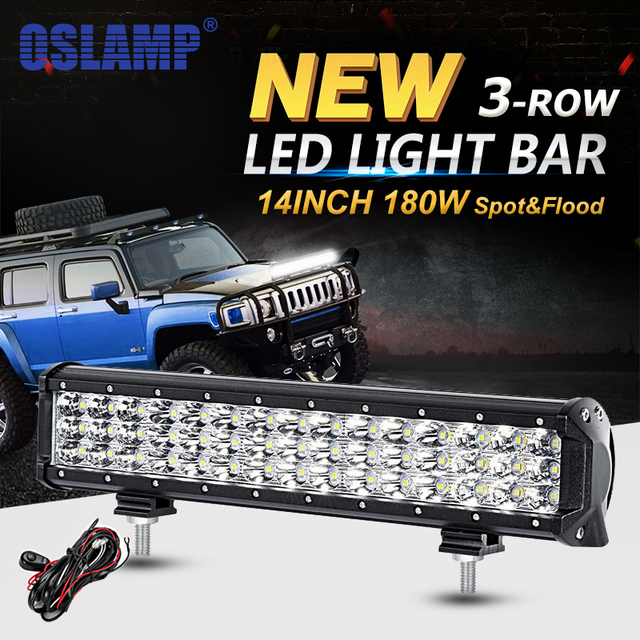Oslamp 14inch 180w 3 row led work light bar offroad led bar oslamp 14inch 180w 3 row led work light bar offroad led bar driving light combo aloadofball Choice Image