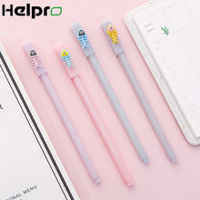 Helpro 1 Pcs Creative Cartoon Gel Pen Kawaii Visgraten Schrijven Pen Kantoor School Briefpapier Geschenken Levert 0.5mm Zwart inkt(China)