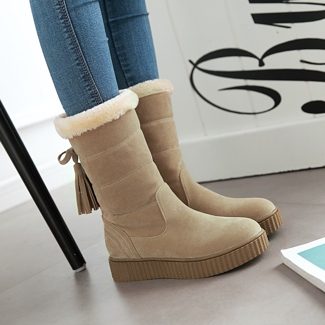 NEMAONE Women winter snow boots warm short plush ankle boots for women Round Toe winter shoes student footwear 3