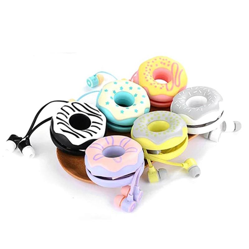 KEEKA LOVE ME Cute Girls Donuts Macarons Earphones 3.5mm in-ear Stereo with mic Earphone Case for iPhone Xiaomi Girls Kid Gift