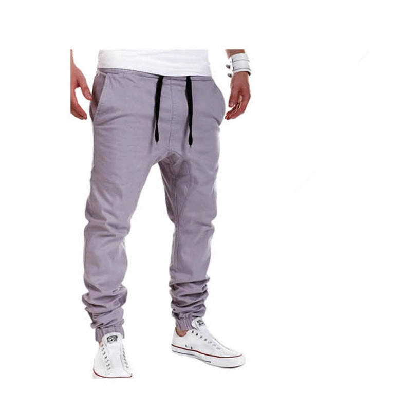 2020 Brand mens Casual Tethered elastic waist trousers Solid color Beam foot pants hip hop Pencil pants male Sweatpants 6 colors 19