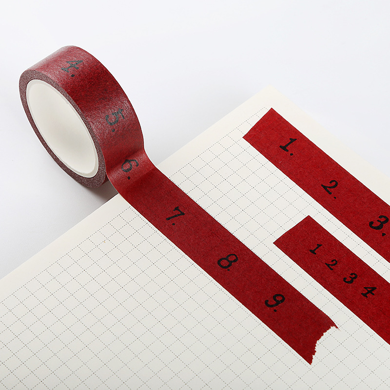 1.5cm*7m Vintage Red Numbers Washi Tape Masking Tape Journal Supplies Scrapbooking Paper Stationary