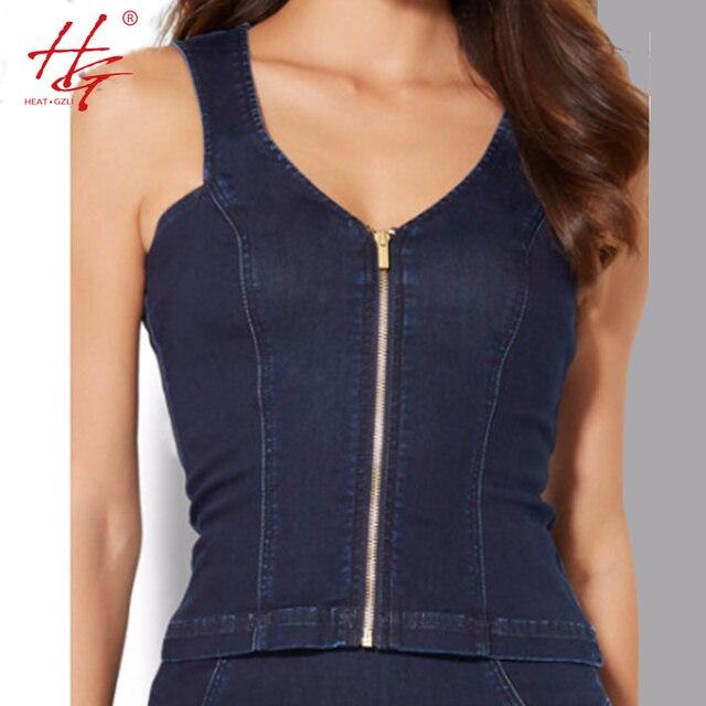 C22 2017 primavera mulheres denim tops zipper front side tops sem mangas de fitness feminino cowboy clothing donna
