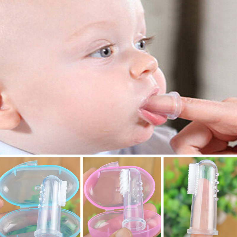 Cute Baby Finger Toothbrush Box Set Children Teeth Clear Massage Soft Silicone Infant Rubber Cleaning Brush Massager Dental care image