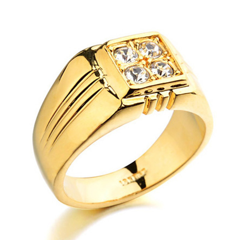 real gold plated rings with aaa cz zircon rings