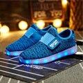 Качество yeezy дети СВЕТОДИОДНЫЕ обувь светящиеся мальчики gilrs кроссовки детей огни обязанности USB светящиеся повседневная обувь 7 цвета size25-35