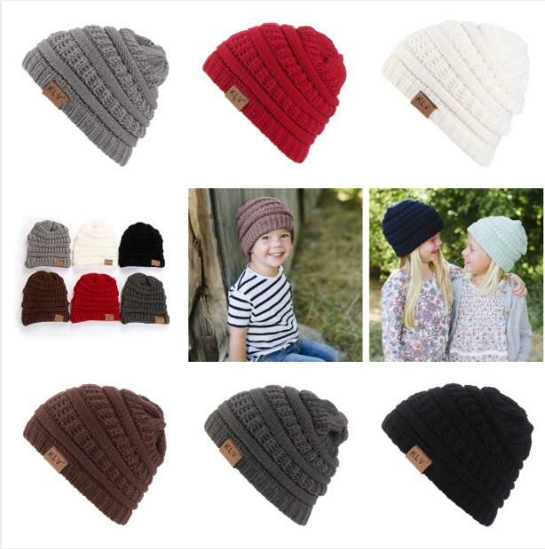 2019 New Children Winter Knitted Wool Cap Beanies Unisex Casual Hats & Caps Kid Solid Color Hip-Hop Skullies Beanie Warm Hat