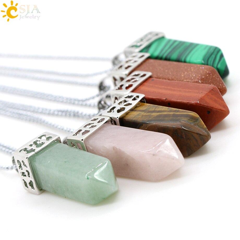 CSJA, натуральные камни, ангелы, крылья, подвеска для ожерелья, розовый кварц, Ониксовые подвески, серебряный цвет, капля воды, Женские Ювелирные изделия, подарок E949