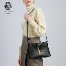 LAORENTOU Brand Female Retro Alligator Lady Shoulder Bags Women Genuine Leather Messenger Valentines Day Present