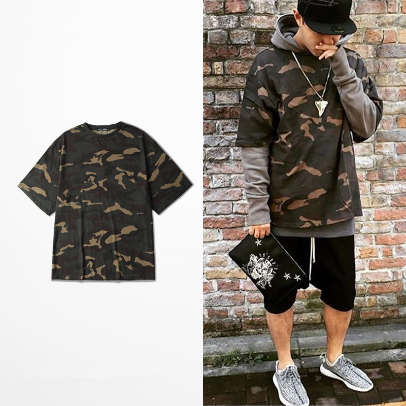 Buy New 2017 Summer T Shirt Homme Kanye West Style Hip Hop Fashion Military
