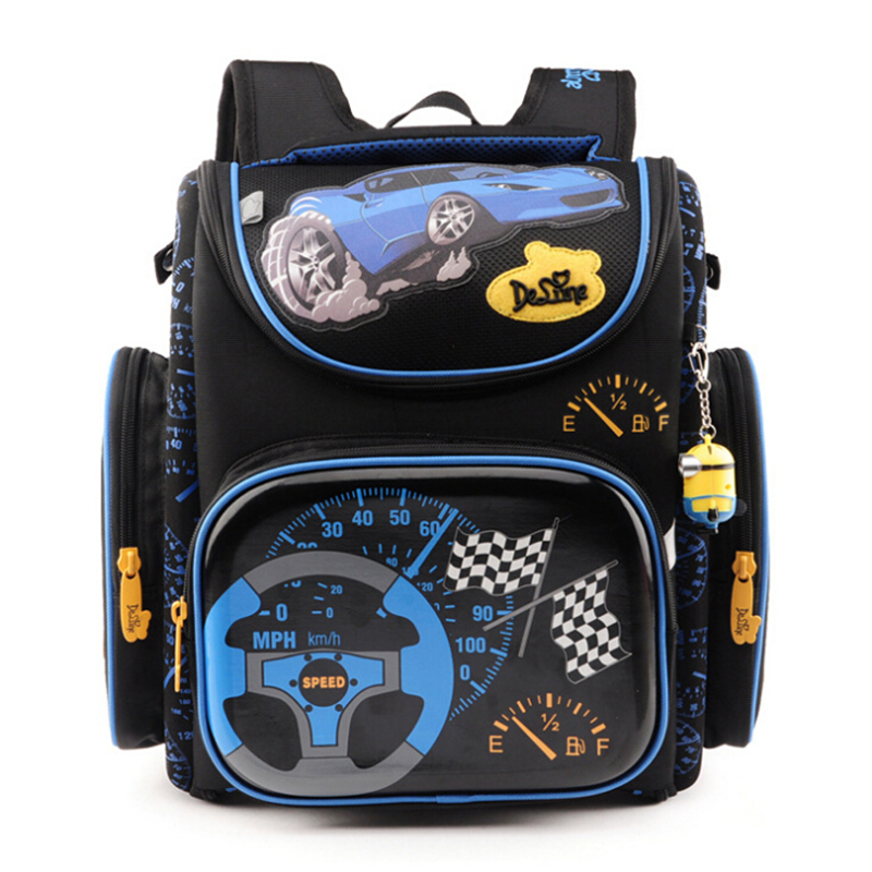 цены Delune Children School Bags for Boys Orthopedic Backpack Cartoon Cars planes Schoolbag Kids Satchel Mochila Infantil Grade 1-5