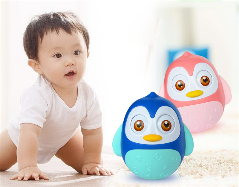 Cute Nodding Moving Eyes Tumbler Owl Doll Baby Rattles Toys For Children Tumbler Baby Toys 0-12 Months With Bell Gifts For Kids ...