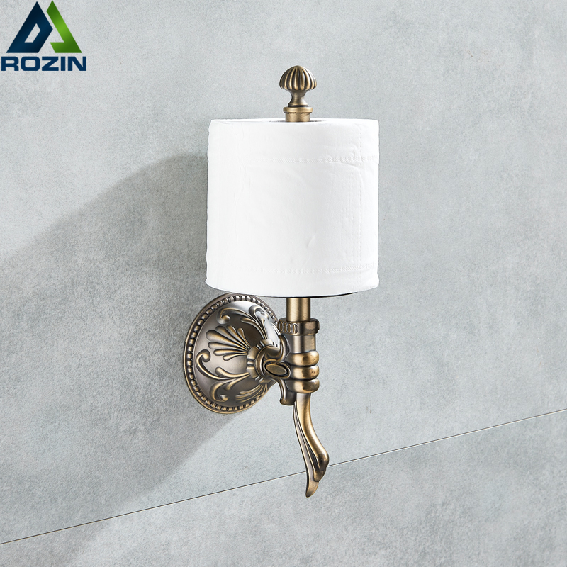 Luxury Creative Wall Mount Roll Toilet Paper Holder Antique Brass Upright Bathroom Toilet Roll Paper Rod free shipping wholesale and retail wall mounted toilet paper holders antique brass creative bathroom roll paper rack rod