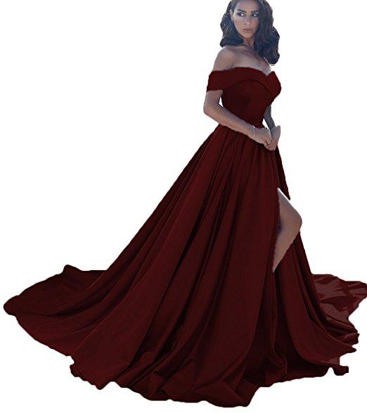 Vnaix X008 Women S Off Shoulder A Line Split Prom Evening Dresses