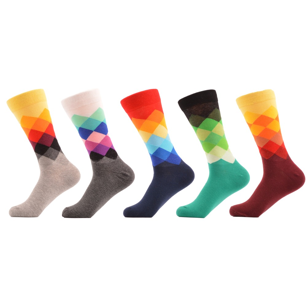 SANZETTI 5 Pairs/lot Men's Colorful Funny Combed Cotton Socks Argyle Filled Optic Striped Casual Dress Crew Socks Winter Socks