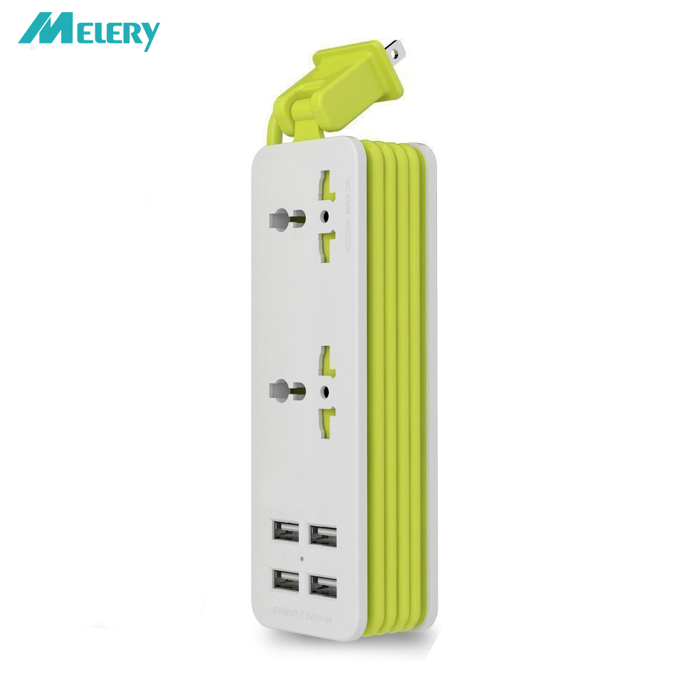 Power Strip Adapter Surge Protector Desktop 1/2 Universal Outlet 4 Smart USB Port Wall Travel Charger 5ft Extension Cord(China)