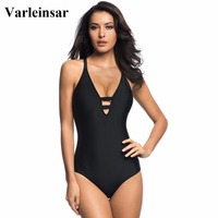 2017 New S XL Black Swimwear Women One Piece Swimsuit Cross Back Bathing Suit Swim Wear