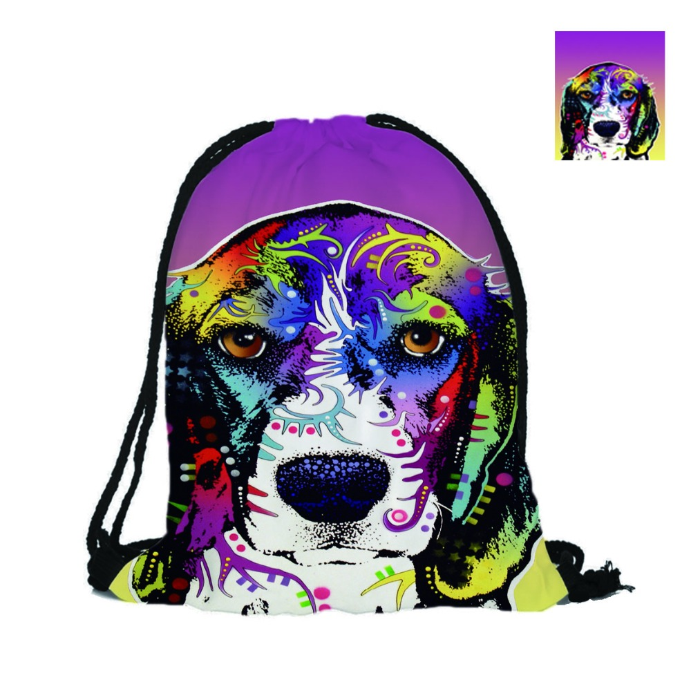 Drawstring Backpack With Beagle And Basset Houndb Designs Printing Lovely Dogs Bags For School Beach Used