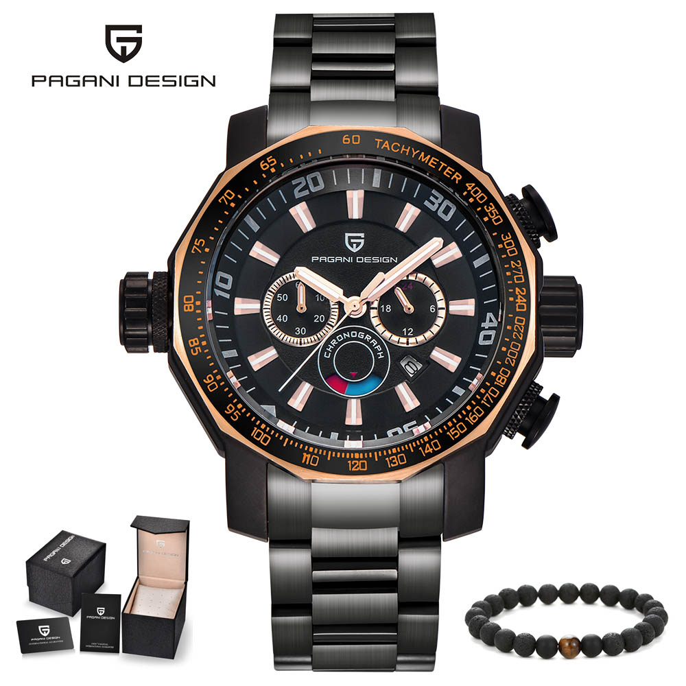 PAGANI Design top brand luxury fashion large dials black stainless steel mens watches waterproof function quartz wrist watch men new design fashion mens stainless steel band square business quartz analog wrist watches 5v8u 3y3fd