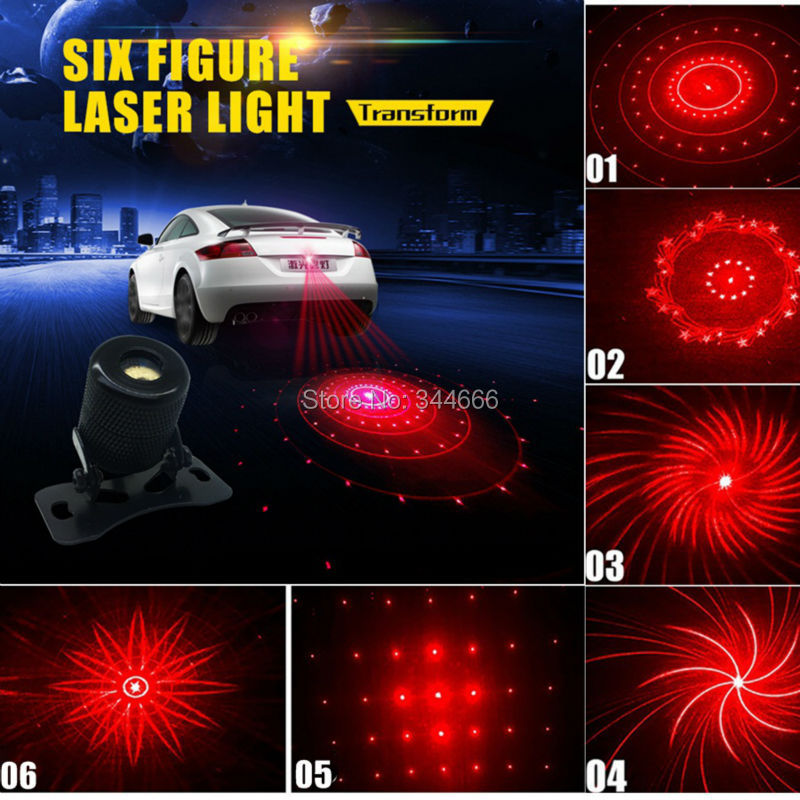 Car Styling Fog Light Laser Brake Parking Brake Warning LED Light Tail Safety Anti Collision Waterproof External DRL 6 Pattern for chevy chevrolet lacetti matiz automotive anti rear fog light vehicle collision warning safety laser fog lights