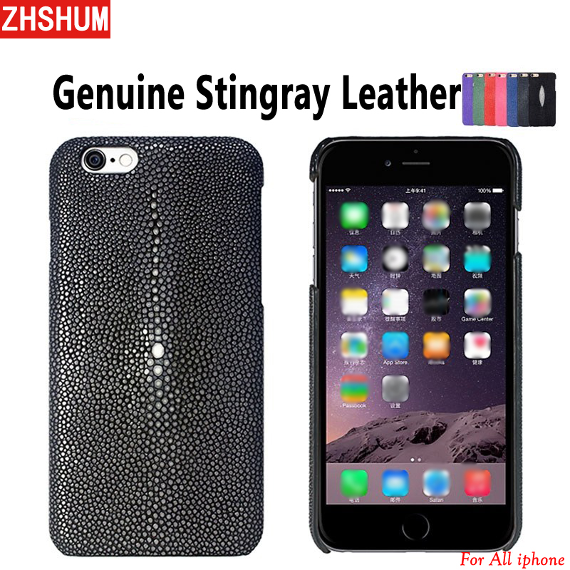 Handmade Genuine Stingray Leather Case For Iphone X 8 Plus 7 6S Luxury Customize Skin Case Back Cover for iphone 5 5S 6 SE 10