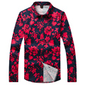 Casual Shirt for Men Red Floral Printed Shirts Fashion Shirt Men Long Sleeve brand Large size Trendy Modern Look Male Gent Life
