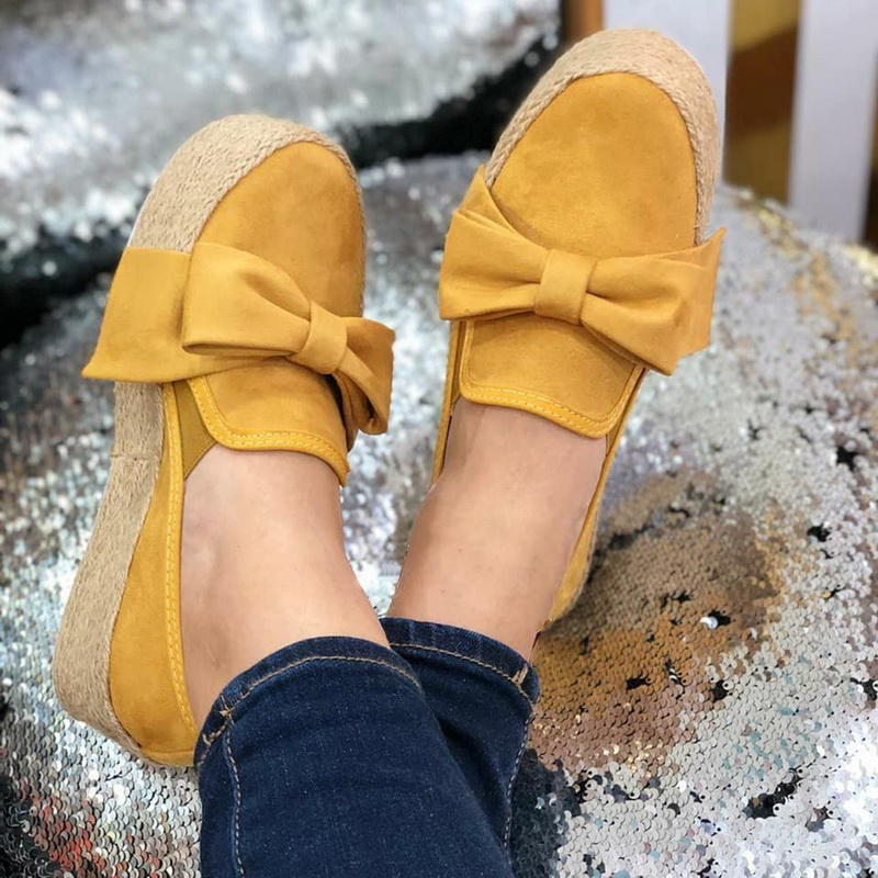 Laamei Autumn Women Flats Shoes Platform Sneakers Slip On Bows Flats Leather Suede Ladies Loafers Moccasins Casual Shoes 2019