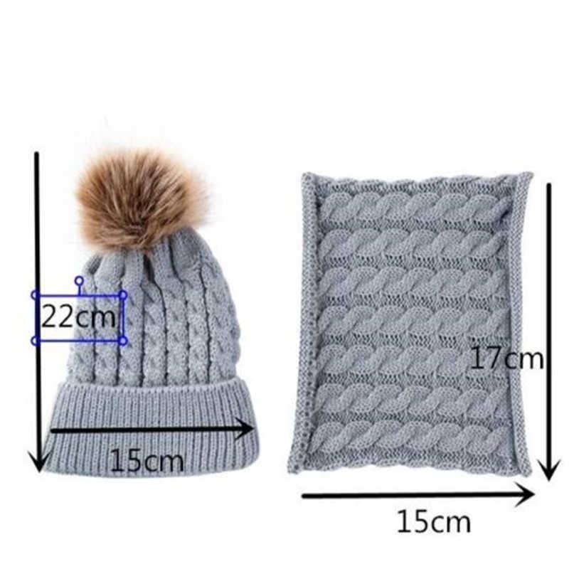 แฟชั่นเด็กชายหญิงหมวกฤดูหนาวที่อบอุ่นเด็กถักโครเชต์หมวกหมวกหมวกขนสัตว์ Pom Pom หมวกผ้าพันคอน่ารักทารกแรกเกิดหมวกผ้าพันคอชุด