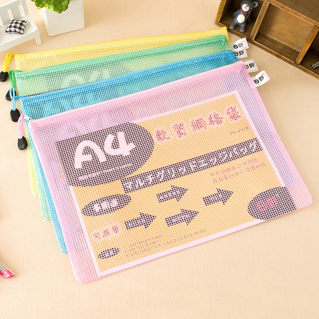 Hino A4 Color Mesh Bag Document Bag Stationery Bag Waterproof Zipper Bag