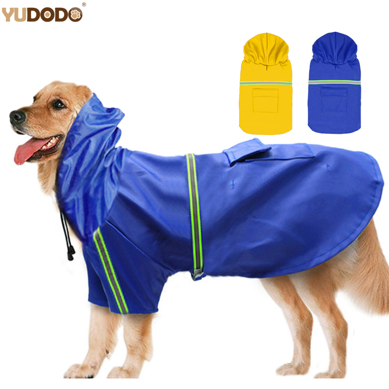 Waterproof  Dog Raincoats Reflective Pet Hooded Coat Jacket Medium Large Dogs Clothes Sportswear For Labrador S-5XL 2Colors