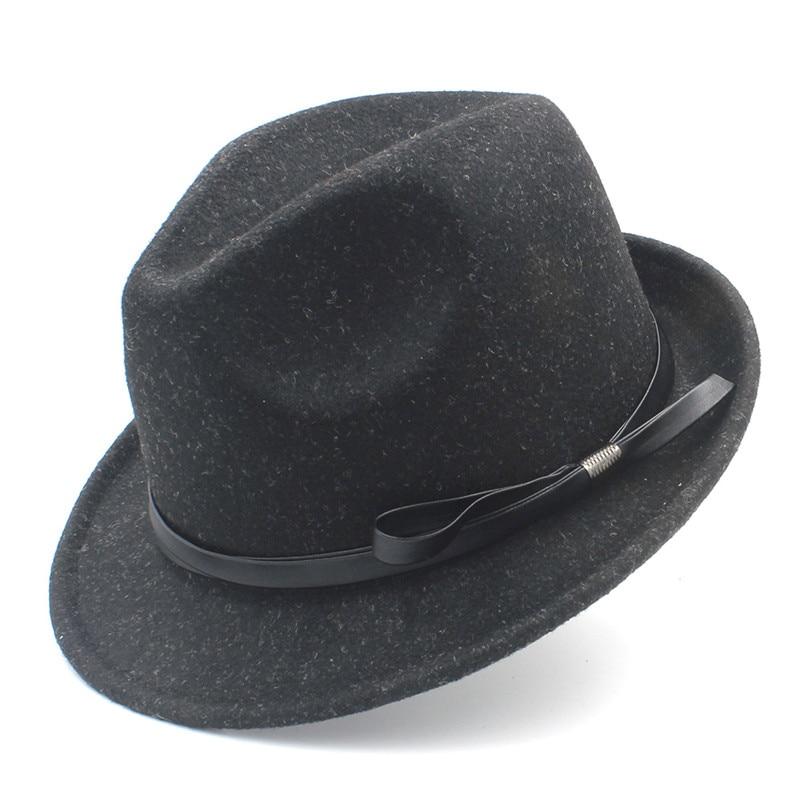 100% Wolle Frauen Fedora Hut Mit Kurze Krempe Elegante Dame Gangster Trilby Fühlte Homburg Kirche Jazz Hut Mit Mode Gürtel Z18 Up-To-Date-Styling