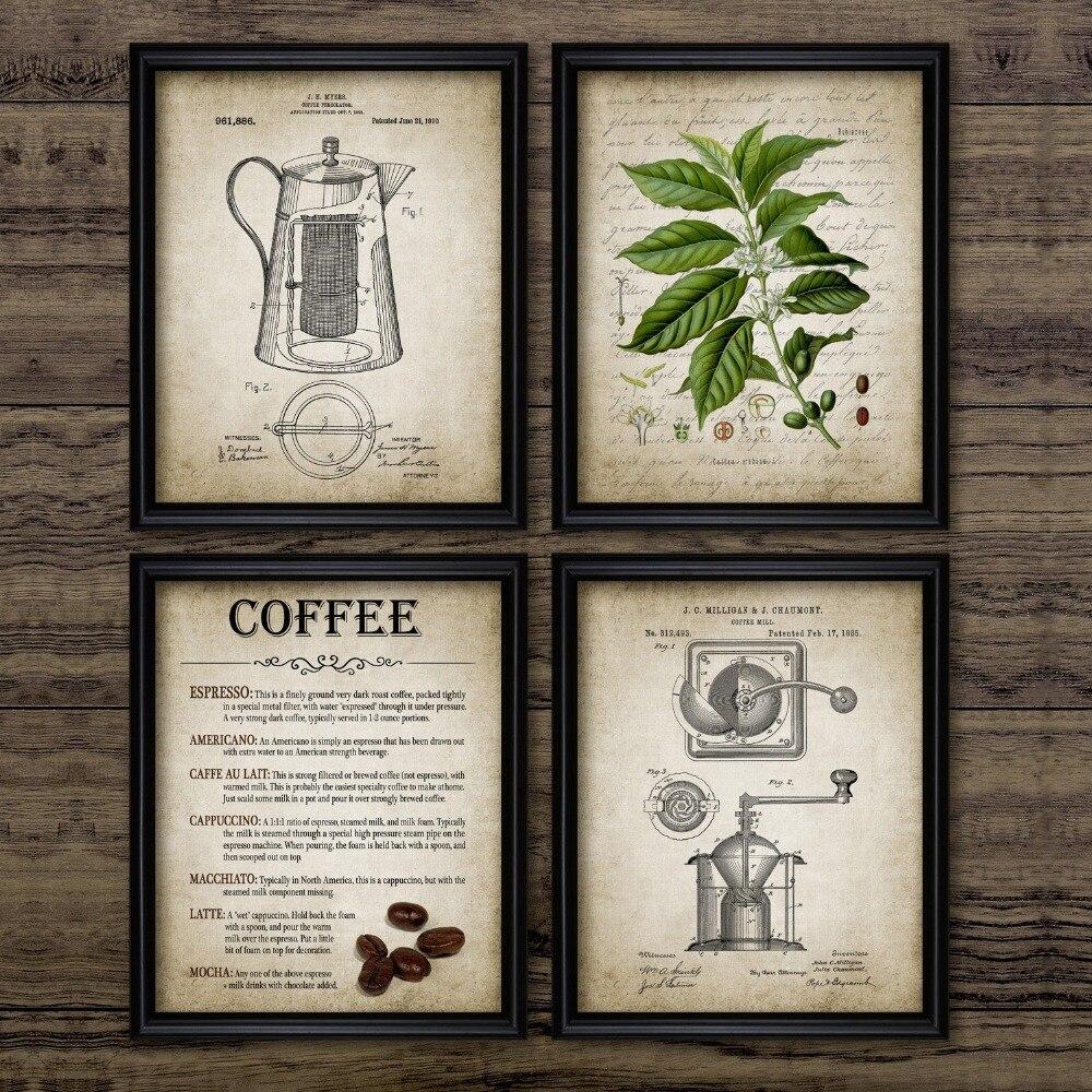 Винтажный постер для приготовления кофе, Перколятор для кофе и кофейных зерен, настенное художественное полотно, живопись типами кофе, картина, домашний декор|Рисование и каллиграфия|   | АлиЭкспресс