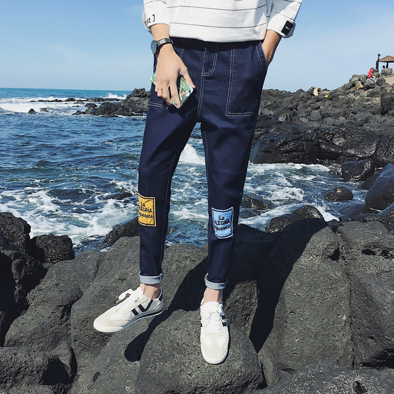2018 The Spring And Summer Self-cultivation Man Wash Jeans men Will Code Nine Part blue and black Pants Free shipping