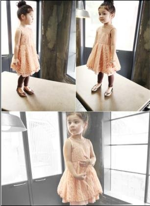 fashion high quality lace solid girls dresses summer  party dancing pink black orange red 5pcs/lot