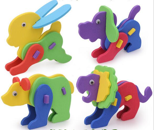 5pcs lot New Creative DIY Handmade EVA Foam Intelligence Development Animal Puzzle Jigsaw font b Toys