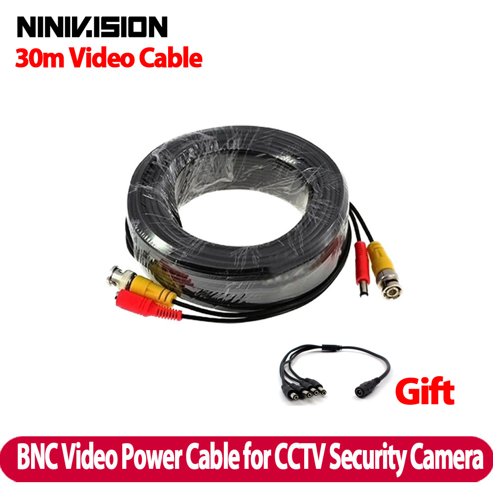 bilder für Neue 100ft 30 mt bnc video stromkabel für cctv dvr kamera, bnc 30 mt power video plug and play kabel für cctv kamera