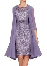 все цены на 2019 Chiffon Mother Of The Bride Dresses With Long Sleeve  Plus Size Tea Length Two Pieces With Jacket