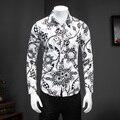 Camisas hombre pará qualidade novo 2017 homens camisa plus size manga longa tamanho homens floral camisas slim fit homens casual camisa social 5xl-m