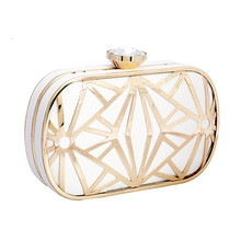 Luxurious Hollow Out Gold/White Clutch Crystal Diamond Evening Clutch Bags Purses Women Lady Bridal Chains Shoulder Handbags