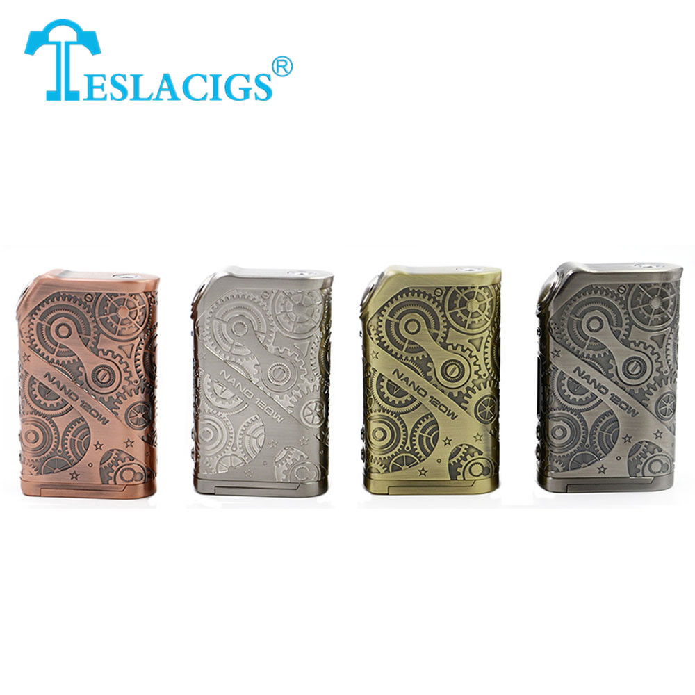 Original Tesla Nano Mod 120w Teslacigs Vape Box Mod Steampunk Style No 18650 Cell for Vape Electronic Cigarette Mod Vs DRAG Mod
