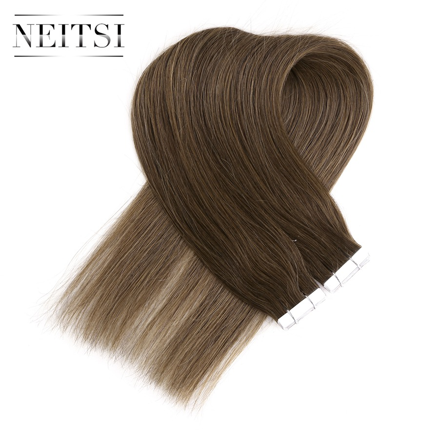 Neitsi Indian Straight Skin Weft Hair Tape In None Remy Human Hair Extensions 18 1 8g