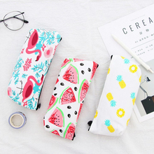 1pcs/lot Korean Canvas Simple Flamingo Pineapple Watermelon Pencil Case Party Favor Gifts Pencil Storage Bag watermelon pattern jelly pencil case