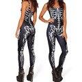Sexy Colores Traje Payyern Pantalones Del Mono de Las Mujeres Sexy Catsuit de Cuero de Imitación Catsuit Skeleton Impreso