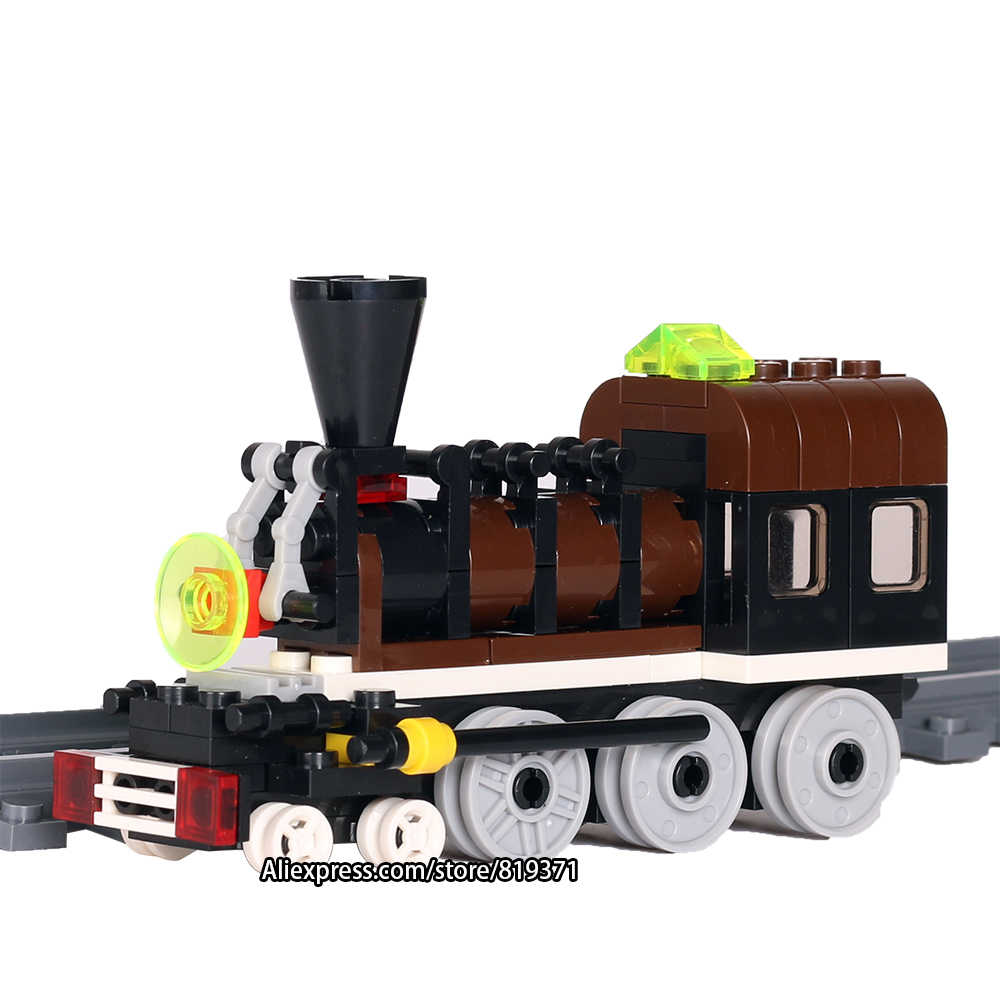 Building Blocks New 2017 Toy Orange Live Steam Train With Tracks Railroad Conveyance Bricks Compatible with LegoeINGlys 26091